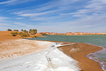 Salt crust at the shores of Ounianga Kebir part of the Ounianga lakes, UNESCO World Heritage Site, northern Chad, Africa