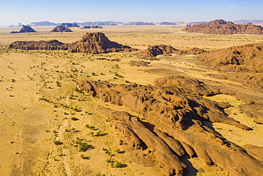 Aerial of the Ennedi Plateau, UNESCO World Heritage Site, Ennedi region, Chad, Africa