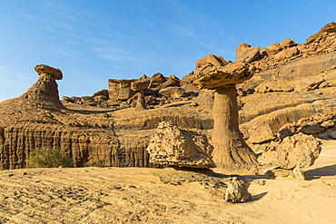 The mushroom rock formations, Ennedi Plateau, UNESCO World Heritage Site, Ennedi region, Chad, Africa