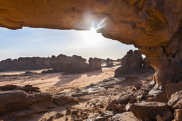 Beautiful rock arch, Ennedi Plateau, UNESCO World Heritage Site, Ennedi region, Chad, Africa