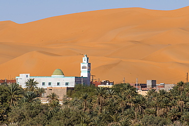 View over the palm oasis of Beni Abbes, Sahara Desert, Algeria, North Africa, Africa