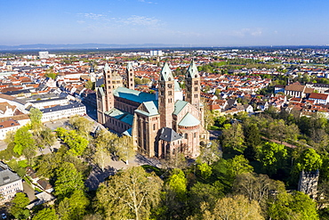 Aerial of Speyer Cathedral, UNESCO World Heritage Site, Speyer, Germany, Europe