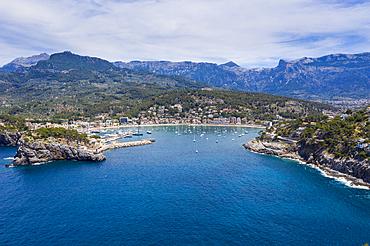 Aerial by drone of Port de Soller, Mallorca, Balearic Islands, Spain, Mediterranean, Europe