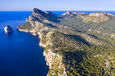 Aerial by drone of Cap Formentor Mallorca, Balearic Islands, Spain, Mediterranean, Europe