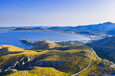 Aerial by drone of the bay of Pollenca, Mallorca, Balearic Islands, Spain, Mediterranean, Europe