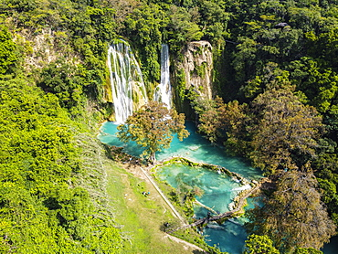 Aerial of the Minas Viejas waterfalls, Huasteca Potosi, San Luis Potosi, Mexico, North America