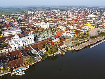 Aerial by drone of Tlacotalpan, UNESCO World Heritage Site, Veracruz, Mexico, North America