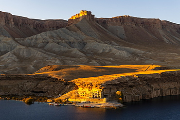 Sunset over the deep blue lakes of the Band-E-Amir National Park, Afghanistan, Asia