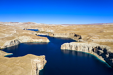 Aerial of the deep blue lakes of the Band-E-Amir National Park, Afghanistan, Asia