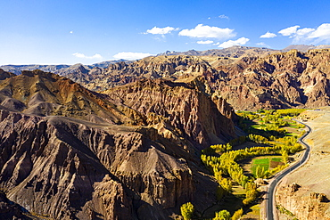 Aerial by drone of the mountains around Bamyan, Afghanistan, Asia