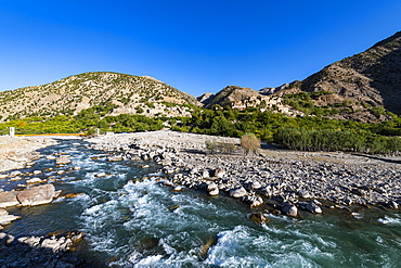 Panjshir River flowing through the Panjshir Valley, Afghanistan, Asia