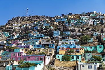 Houses perched on the hills around Sakhi Shah-e Mardan Shrine (Ziyarat-e Sakhi), Kabul, Afghanistan, Asia