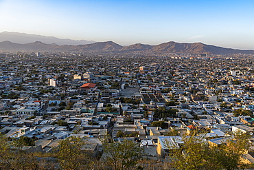 View over Kabul at sunset, Afghanistan, Asia