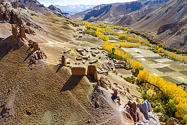 Aerial by drone of Gohargeen fort, Yakawlang province, Bamyan, Afghanistan, Asia