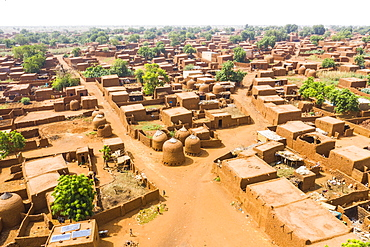 Aerial by drone of the central Mosque in the Hausa village of Yaama, Niger, West Africa, Africa