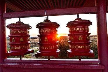 Prayer drums at the Geden Sheddup Choikorling Monastery, Elista, Republic of Kalmykia, Russia, Eurasia