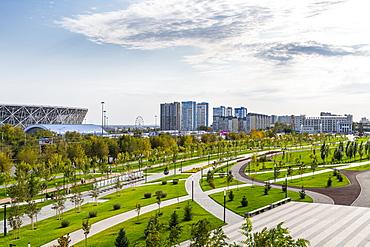 Volgograd arena and Mamayev Kurgan, Volgograd, Volgograd Oblast, Russia, Eurasia