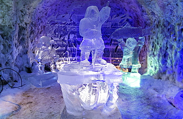 Colourful ice sculptures in the Permafrost kingdom, Yakutsk, Sakha Republic (Yakutia), Russia, Eurasia