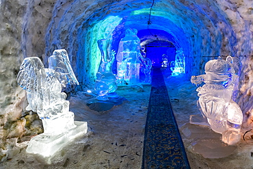 Colourful ice sculptures in the Permafrost kingdom, Yakutsk, Sakha Republic (Yakutia), Russia, Eurasia