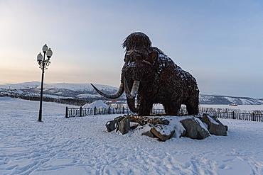 Mammoth monument in Nagaev Bay, Magadan, Magadan Oblast, Russia, Eurasia