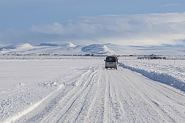 Ice road over the Anadyrsky Liman, Anadyr, easternmost city in Russia, Chukotka autonomous Okrug, Russia, Eurasia