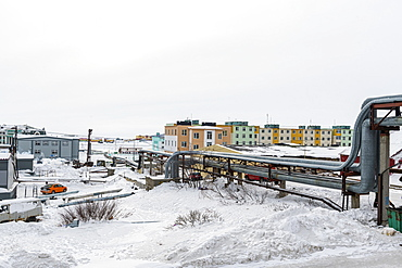 Open air heat pipeline, Anadyr, easternmost city in Russia, Chukotka autonomous Okrug, Russia, Eurasia