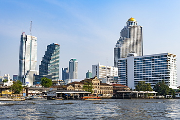 Skyline of Bangkok, Chao Phraya River, Bangkok, Thailand, Southeast Asia, Asia