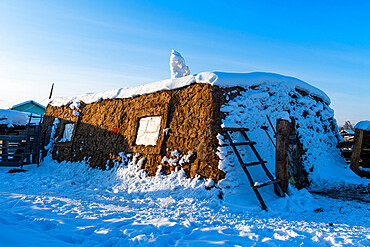 Building made out of cow dung, Uolba village, Road of Bones, Sakha Republic (Yakutia), Russia, Eurasia