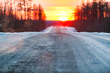 Sunset on the Road of Bones, Sakha Republic (Yakutia), Russia, Eurasia