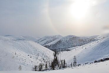Snow covered mountain pass, Suntar-Khayata mountain Range, Road of Bones, Sakha Republic (Yakutia), Russia, Eurasia
