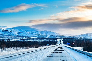 Snow covered mountains along the Road of Bones, Magadan Oblast, Russia, Eurasia