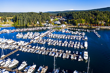 Aerial of Roche harbor, San Juan islands, Washington State, United States of America, North America