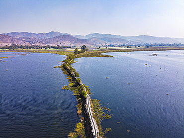 Aerial by drone of ancient Heritage Tin Yoe, Inle Lake, Shan state, Myanmar (Burma), Asia