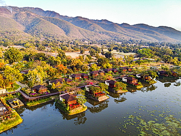 Aerial by drone of of overwater bungalows, Inle Lake, Shan state, Myanmar (Burma), Asia