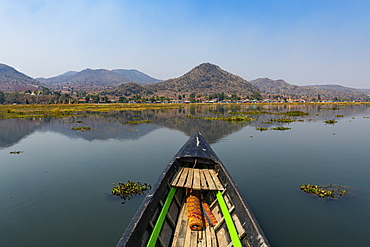 Boat on the southern part of Inle Lake, Shan state, Myanmar (Burma), Asia