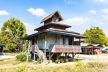 Unusual monastery, Samkar, Inle Lake, Shan state, Myanmar (Burma), Asia