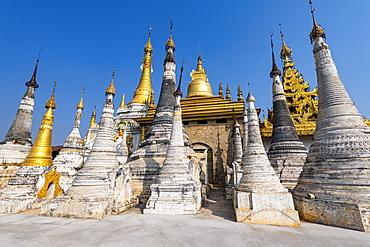 Spike pagodas at the Shwe Inn Dein pagoda, Inn Thein, Inle Lake, Shan state, Myanmar (Burma), Asia