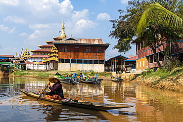 Canoes, Inle Lake, Shan state, Myanmar (Burma), Asia