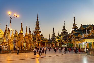 Shwedagon pagoda after sunset, Yangon (Rangoon), Myanmar (Burma), Asia