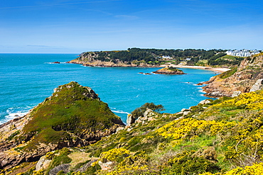 View over Portelet Bay, Jersey, Channel Islands, United Kingdom, Europe