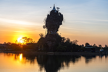 Backlight of the Kyauk Kalap pagoda, Hpa-An, Kayin state, Myanmar (Burma), Asia