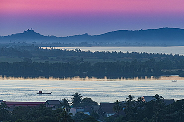 View over Mawlamyine and the Thanlwin River at sunset, Mon state, Myanmar (Burma), Asia
