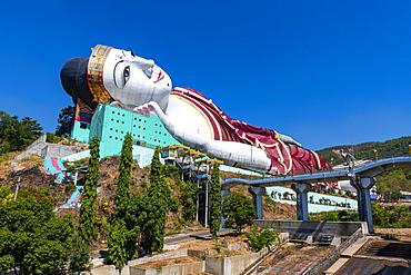 Giant reclining Buddha in Win Sein Taw Ya outside Mawlamyine, Mon state, Myanmar (Burma), Asia