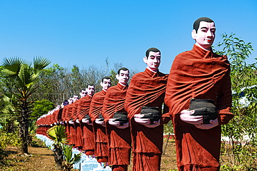 Huge line of pilgrim statues in Win Sein Taw Ya outside Mawlamyine, Mon state, Myanmar (Burma), Asia