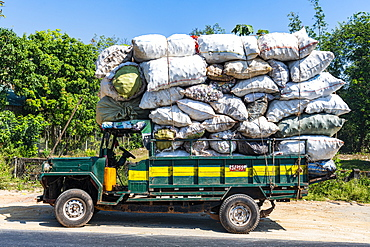 Fully loaded old truck, Mawlamyine, Mon state, Myanmar (Burma), Asia