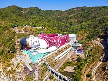Aerial by drone of a giant reclining Buddha in Win Sein Taw Ya outside Mawlamyine, Mon state, Myanmar (Burma), Asia