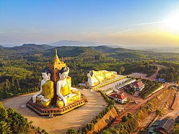 Aerial by drone of the huge sitting and reclining Buddhas, Ko Yin Lay, Pupawadoy Monastery near Ye, Mon state, Myanmar (Burma), Asia
