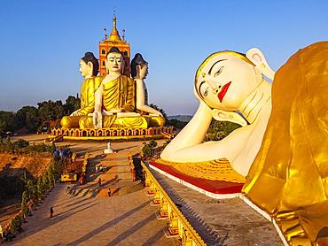 Aerial of the huge sitting and reclining Buddhas, Ko Yin Lay, Pupawadoy Monastery near Ye, Mon state, Myanmar (Burma), Asia