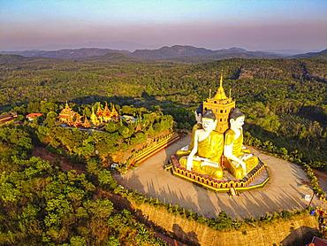 Aerial by drone of the huge sitting Buddhas, Ko Yin Lay, Pupawadoy Monastery near Ye, Mon state, Myanmar (Burma), Asia