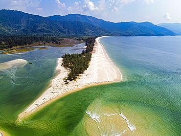 Aerial by drone of Tizit beach, Dawei, Mon state, Myanmar (Burma), Asia